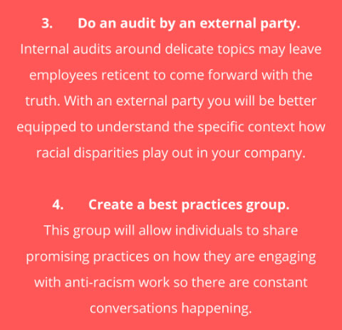 Internal audit by an external party and Create a best practices group