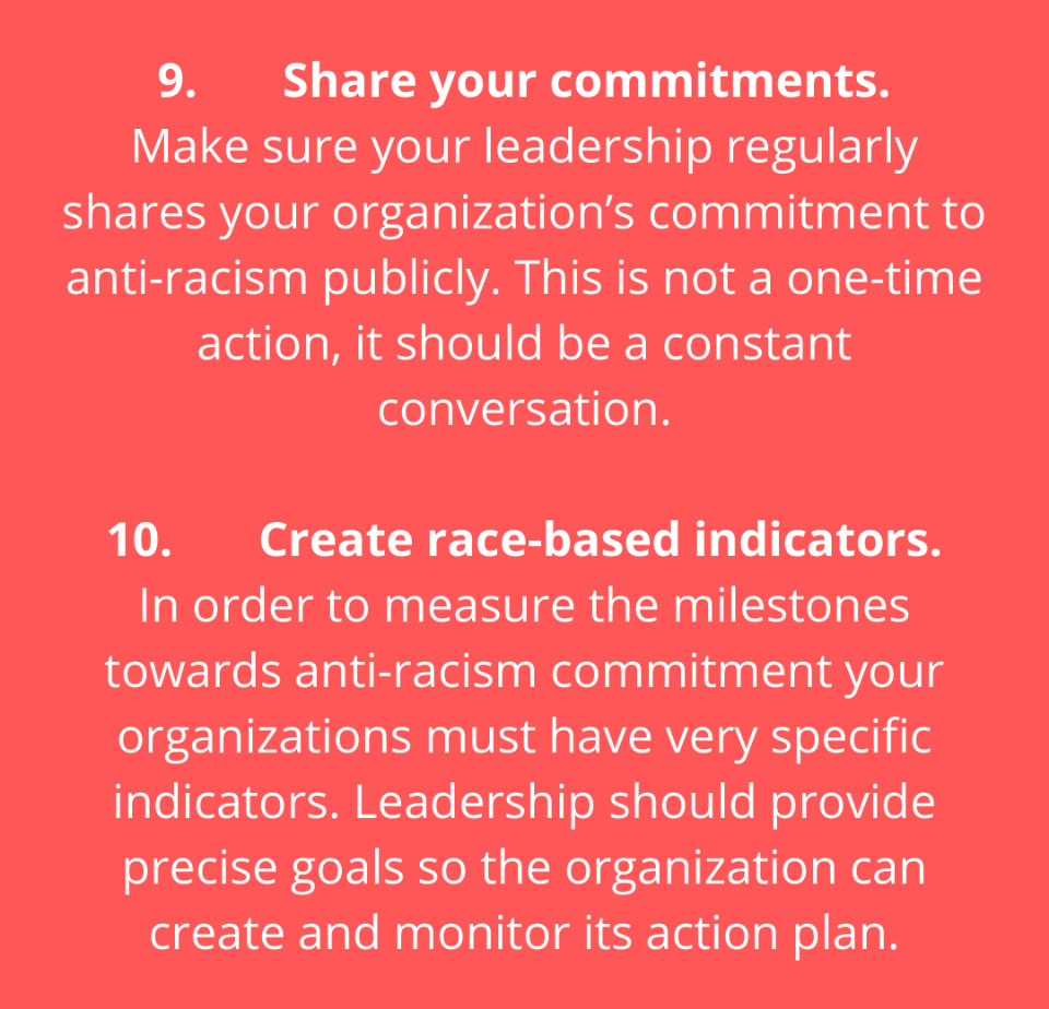Share your commitments and Create race-based indicators